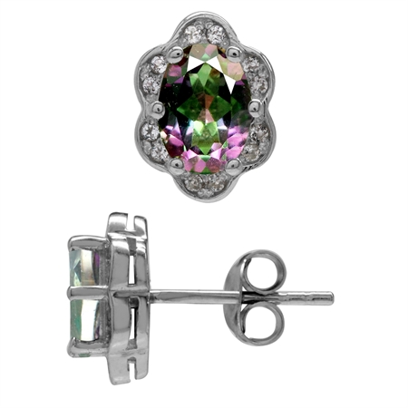 1.76ct. Mystic Fire Topaz White Gold Plated 925 Sterling Silver Flower Post Earrings