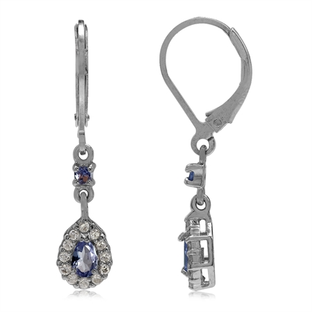 Petite Tanzanite w/White Topaz Accent 925 Sterling Silver Gold Plated Leverback Earrings