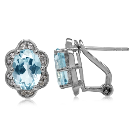 4.34ct. Genuine Sky Blue Topaz White Gold Plated 925 Sterling Silver Flower Omega Clip Post Earrings