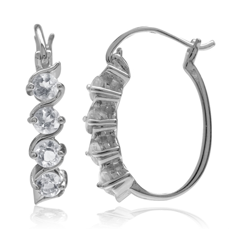 1.12ct. Genuine White Topaz 925 Sterling Silver Journey Hoop Earrings