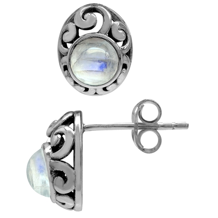 Petite Natural Moonstone 925 Sterling Silver Southwest Style Filigree Stud Earrings