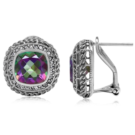 7.38ct. Mystic Fire Topaz White Gold Plate 925 Sterling Silver Rope Knot Omega Clip Post Earrings