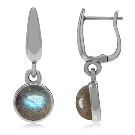 925 Sterling Silver Huggie Hoop Earrings w/ Genuine Labradorite Dangle Drop