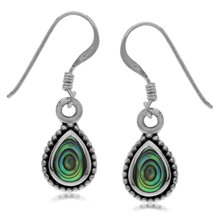Pear Shape Abalone/Paua Shell Inlay 925 Sterling Silver Bali/Balinese Style Drop Dangle Earrings