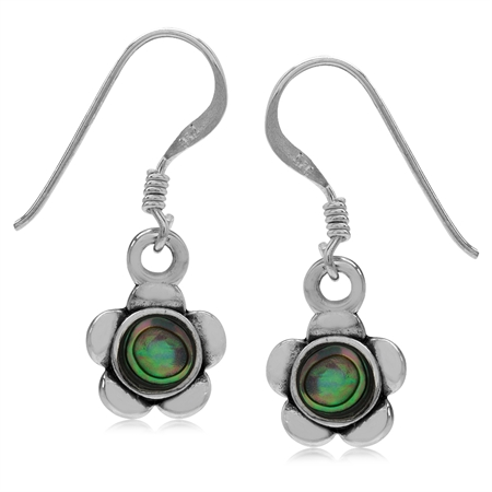 Abalone/Paua Shell Inlay 925 Sterling Silver Flower Drop Dangle Hook Earrings