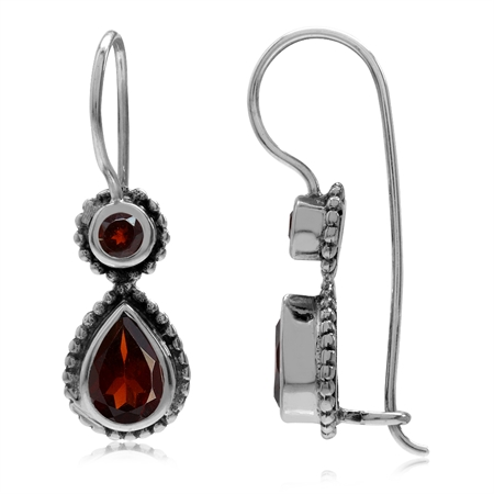 2ct. Natural Garnet 925 Sterling Silver Bali/Balinese Style Hook Earrings