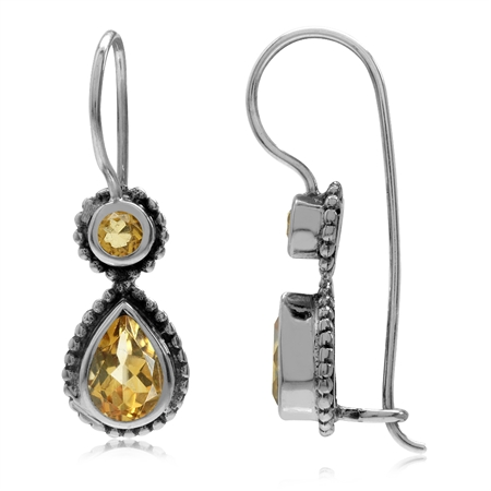 1.3ct. Natural Citrine 925 Sterling Silver Bali/Balinese Style Hook Earrings