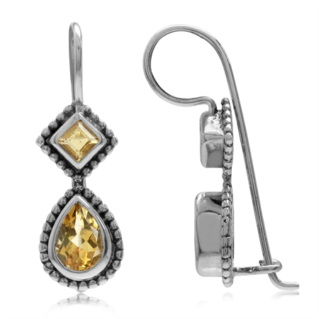 1.08ct. Natural Citrine Antique Finish 925 Sterling Silver Balinese Hook Earrings