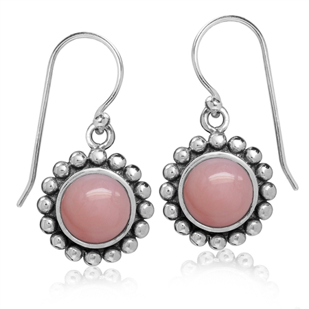 8MM Genuine Pink Opal 925 Sterling Silver Bali/Balinese Style Dangle Hook Earrings