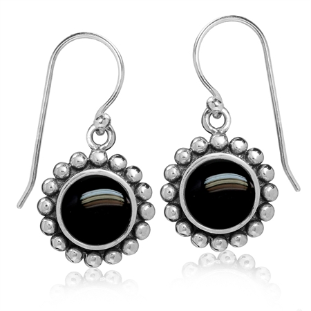 8MM Created Black Onyx 925 Sterling Silver Bali/Balinese Style Dangle Hook Earrings