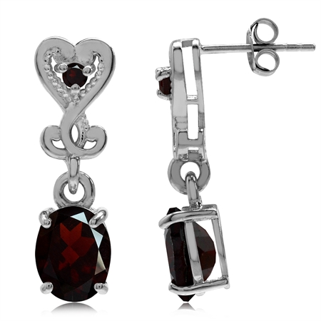 4.34ct. Natural Garnet Gold Plated 925 Sterling Silver Heart Victorian Style Dangle Post Earrings