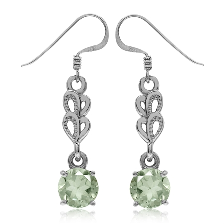 3.4ct. Natural Green Amethyst White Gold Plated 925 Sterling Silver Heart Dangle Hook Earrings