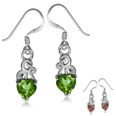 Petite Heart Shape Synthetic Color Change Diaspore 925 Sterling Silver Swirl Dangle Hook Earrings