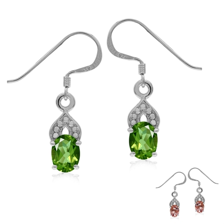 Synthetic Color Change Diaspore White Gold Plated 925 Sterling Silver Dots Pattern Dangle Earrings
