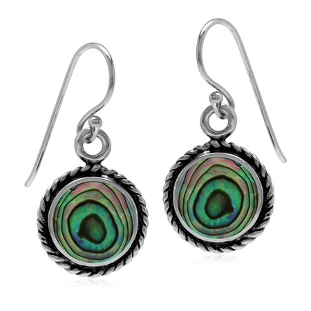 Abalone/Paua Shell Inlay 925 Sterling Silver Rope Dangle Hook Earrings