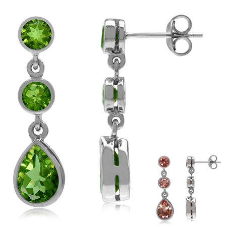 Synthetic Color Change Diaspore White Gold Plated 925 Sterling Silver Drop Dangle Earrings