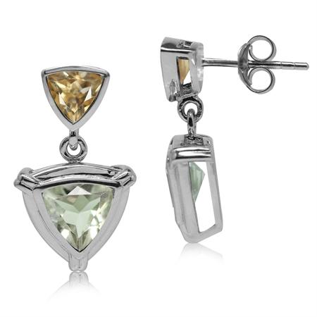 2.08ct. Natural Trillion Shape Green Amethyst & Citrine 925 Sterling Silver Dangle Post Earrings