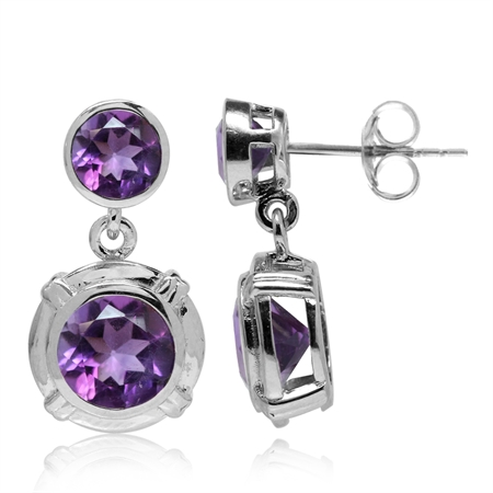 3.24ct. Round Shape Natural African Amethyst Gold Plated 925 Sterling Silver Dangle Post Earrings