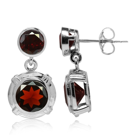 4.44ct. Round Shape Natural Garnet White Gold Plated 925 Sterling Silver Dangle Post Earrings