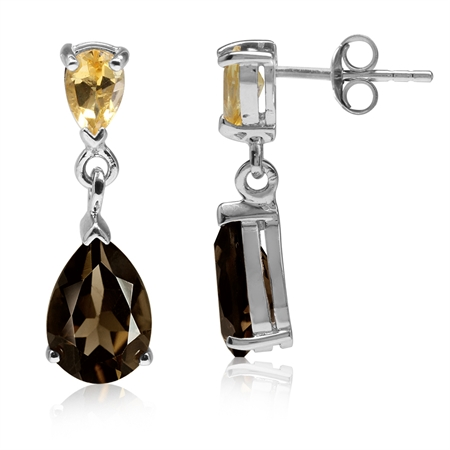 3.96ct. Natural Smoky Quartz & Citrine White Gold Plated 925 Sterling Silver Drop Dangle Earrings