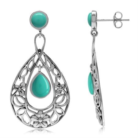 Created Green Turquoise 925 Sterling Silver Flower & Leaf Filigree Drop Dangle Earrings