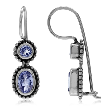 1.02ct. Genuine Tanzanite 925 Sterling Silver Bali/Balinese Style Hook Earrings