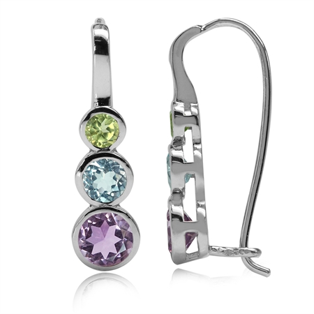 Natural Amethyst, Blue Topaz & Peridot White Gold Plated 925 Sterling Silver Hook Earrings