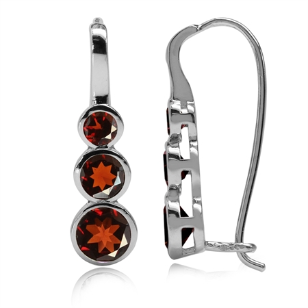 2.06ct. 3-Stone Natural Garnet White Gold Plated 925 Sterling Silver Hook Earrings