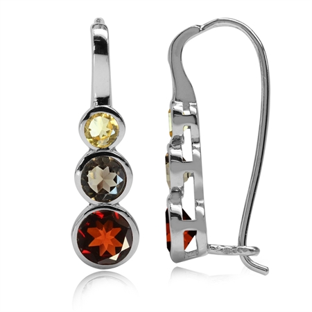 Natural Garnet, Smoky Quartz & Citrine White Gold Plated 925 Sterling Silver Hook Earrings