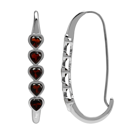 3ct. 5-Stone Heart Shape Natural Garnet White Gold Plated 925 Sterling Silver Journey Hoop Earrings