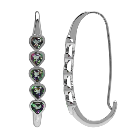 2.8ct. 5-Stone Heart Shape Mystic Fire Topaz 925 Sterling Silver Journey Hoop Earrings