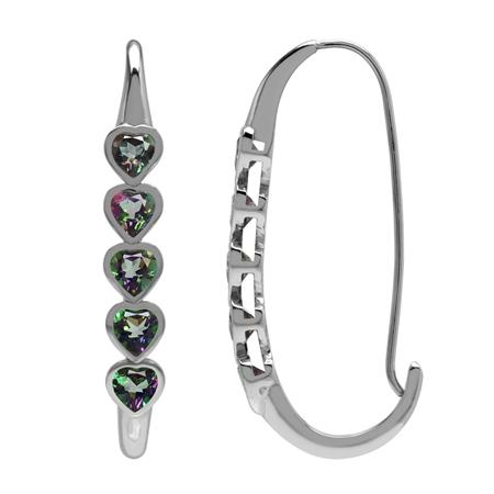 2.8ct. 5-Stone Heart Shape Mystic Fire Topaz 925 Sterling Silver Journey Hoop Earrings