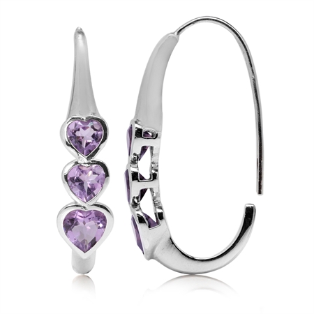 1.64ct. 3-Stone Heart Shape Natural Amethyst White Gold Plated 925 Sterling Silver Hoop Earrings