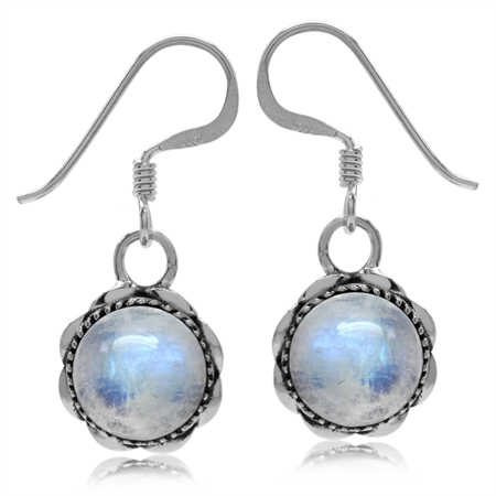 Natural Moonstone Antique Finish 925 Sterling Silver Filigree Dangle Earrings