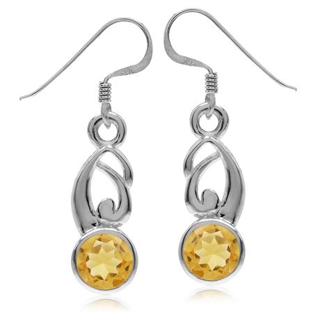 1.5ct. Natural Citrine 925 Sterling Silver Bezel Set Swirl Dangle Earrings
