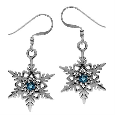 Genuine London Blue Topaz 925 Sterling Silver Snowflake Dangle Hook Earrings