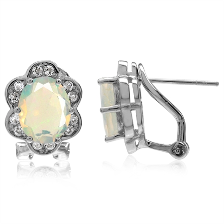 Genuine Opal & White Topaz Gold Plated 925 Sterling Silver Flower Omega Clip Post Earrings