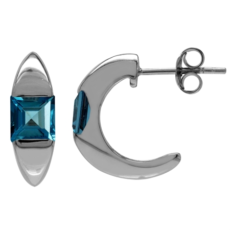 1.48ct. 5MM Genuine Square Shape London Blue Topaz 925 Serling Silver C-Hoop Earrings