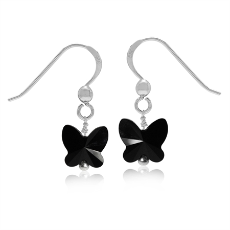 Butterfly Shape Jet Black Crystal 925 Sterling Silver Dangle Hook Earrings