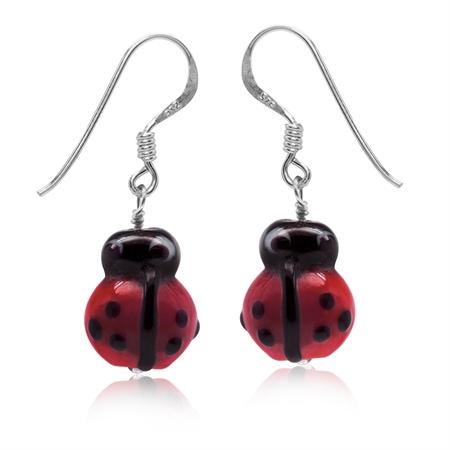 Red Ladybug Glass Bead 925 Sterling Silver Dangle Hook Earrings