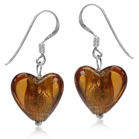 Heart Shape Golden Brown Crystal 925 Sterling Silver Dangle Hook Earrings