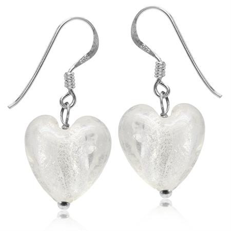 Heart Shape White Crystal 925 Sterling Silver Dangle Hook Earrings