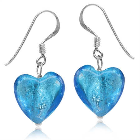Heart Shape Blue Crystal 925 Sterling Silver Dangle Hook Earrings