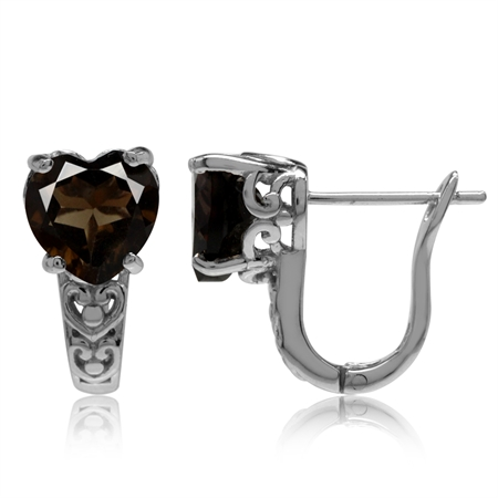 3.02ct. Natural Heart Shape Smoky Quartz Gold Plated 925 Sterling Silver Filigree Huggie Earrings