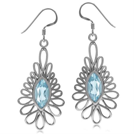 4.1ct. Genuine Blue Topaz White Gold Plated 925 Sterling Silver Dangle Hook Earrings