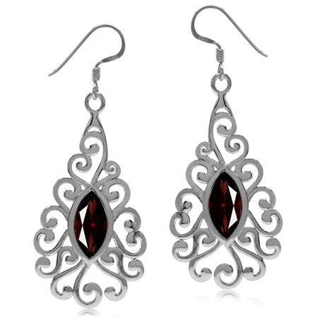 3.78ct. Natural Garnet White Gold Plated 925 Sterling Silver Victorian Swirl Dangle Earrings
