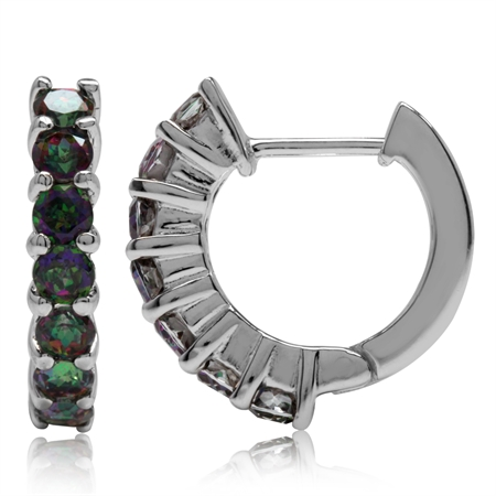 1.96ct. Mystic Fire Topaz White Gold Plated 925 Sterling Silver Journey Huggie Earrings
