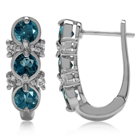 1.92ct 3-Stone Genuine London Blue Topaz White Gold Plated 925 Sterling Silver English Hook Earrings