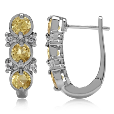 1.5ct. 3-Stone Natural Citrine & White Topaz 925 Sterling Silver English Hook Earrings