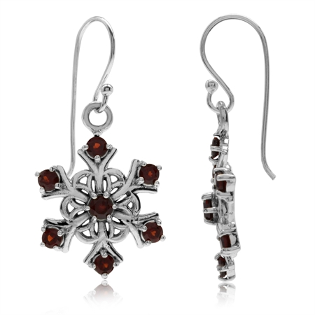 1.4ct. Natural Garnet 925 Sterling Silver Snowflake Cluster Dangle Hook Earrings